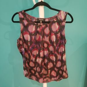 Nine West Black Purple Patterned Sleeveless Top